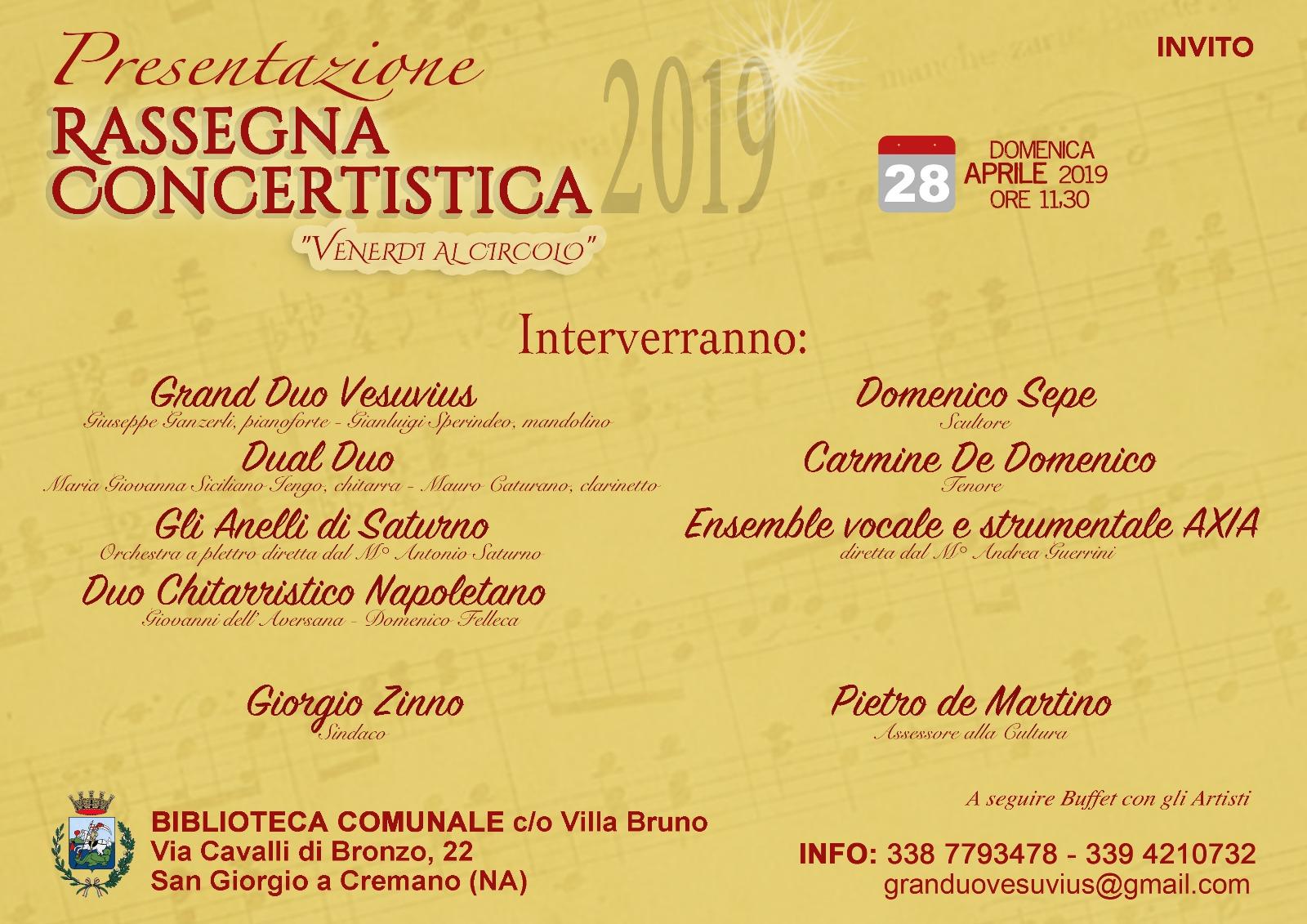 """Presentazione Rassegna Concertistica """" Venerdì al Circolo"""""""